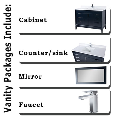 Vanities include cabinet, counter, mirror and faucet